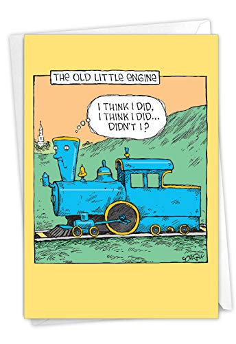NobleWorks - Old Little Engine - Funny Happy Birthday Card for Grandparents, Elderly - Cartoon Train Bday Card with Envelope C6955BDG