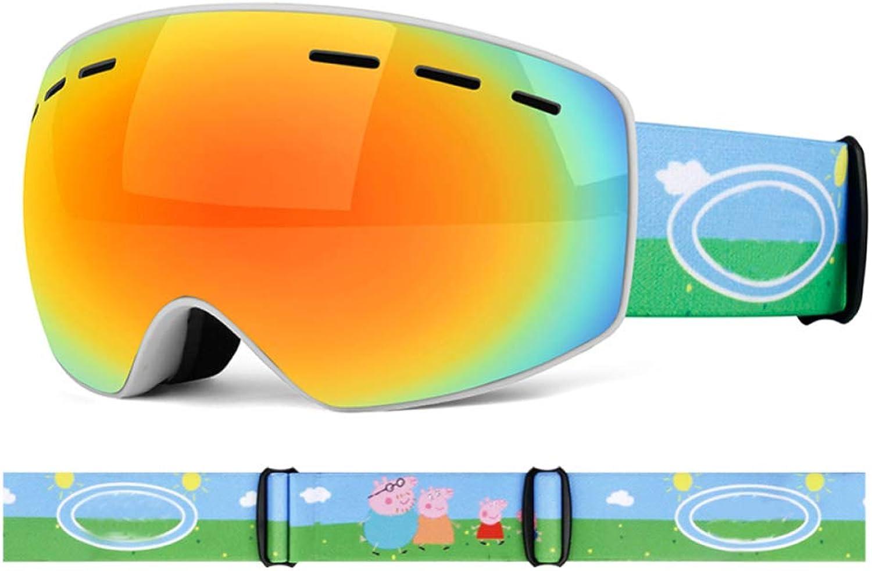 YSH Kinder-Skibrille Doppel-Anti-UV-Anti-Fog-Snowboard Brille Für Kinderkinder,B