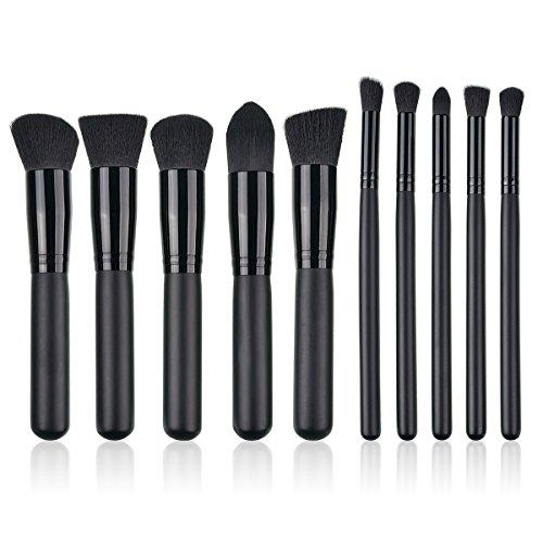 SymbolLife 10pcs de maquillage professionnel a la mode Pinceaux Brosses Outils, specialement con?u pour les filles/Ados/Femmes/Femmes, Black Handle + Black Tube + Black Hair