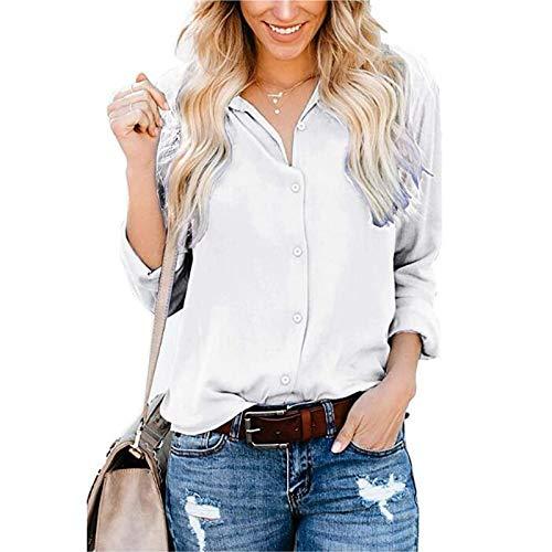 AFFGEQA Damen Mode Casual Schnalle Langarm Ärmel Schlitz Shirt Tops Einfarbige Top Bluse
