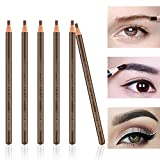 Ownest 6Pcs Pull Cord Peel-off Eyebrow Pencil Tattoo Tattoo Makeup and Microblading Supplies Set for Marking, Filling and Outlining, Waterproof and Durable Lápiz de cejas permanente-Marrón claro