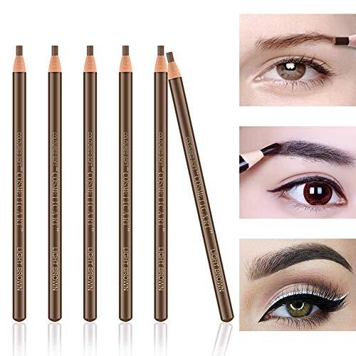Ownest 6Pcs Pull Cord Peel-off Crayon Sourcils Tatouage Maquillage et Microblading Fournitures Set pour le marquage, le remplissage et Décrivant, étanche et durable permanent Sourcils-12 Marron clair