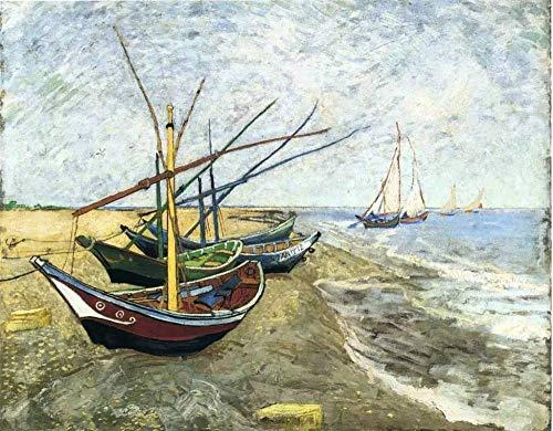 Lienzo de Bricolaje Regalo de Pintura al óleo para Adultos niños Pintura por número Kits Decoraciones para el hogar - Barco de pesca junto al mar en San Madira - Vincent Willem van Gogh
