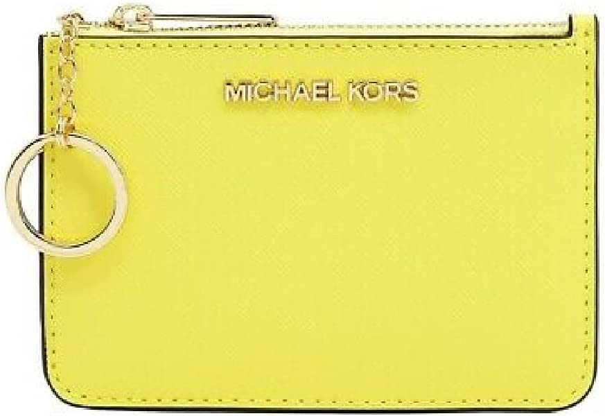 Michael Kors Jet Set Travel Small Top Zip Coin Pouch with ID Holder in Saffiano Leather (Sunshine Yellow)