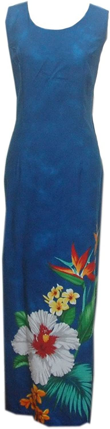 Jade Fashions Inc. Women's Hawaiian bluee Tropical Flower Long Dress