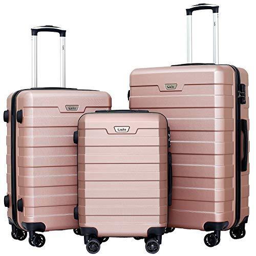 Ceilo 3 Piece Durable Lightweight ABS Luggage, TSA Lock, Sturdy Aluminum Handle, Double Row Silent Wheels,20'', 24'', 28'', 3PCS Rose Gold
