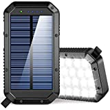 Solar Charger Power Bank 25000mAh, 36 LEDs Emergency Portable Solar Battery Charger with 3 Output Ports External Battery Pack Camping Accessories Solar Phone Charger for Cell Phones