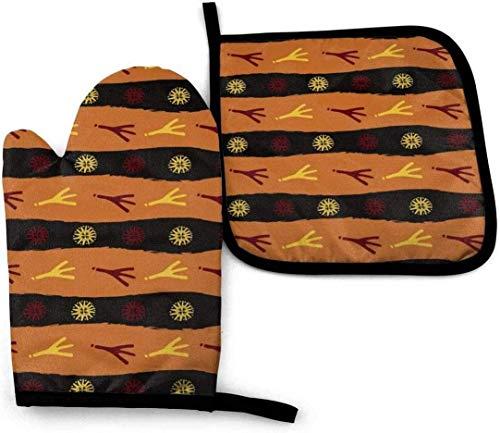 LREFON Juego de 2 Manoplas y Porta ollas Originales para Horno con Huella de pájaro, Guantes Resistentes al Calor para Horno