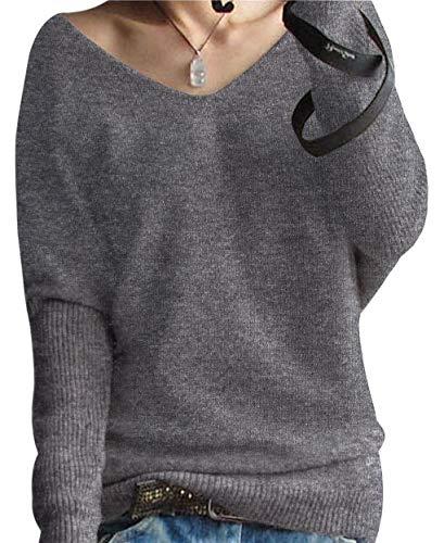 PHELEAD Damen 100% Merinowolle Winterpullover Damen V-Ausschnitt Loose Fledermaus?rmel Strickpulli Oversized Pullover Damen Sexy Warm Sweater (M, Grey)