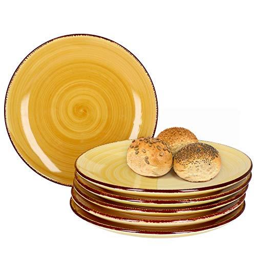 MamboCat Yellow Baita 6X Kuchen-Teller gelb I Robustes gelbes Steingut-Geschirr für 6 Personen I 6-er Dessert-Teller-Set mit modernem Strudel-Dekor in tollen Gelbtönen I gelbe Teller klein 6 Stück