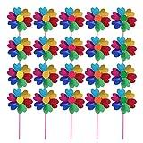 TOYANDONA 20 Piezas de Plástico Arco Iris Molino de Viento para Fiesta DIY Césped Molino Set para Niños Fiesta Favor Jardín Fiesta Césped Decoración Color Aleatorio