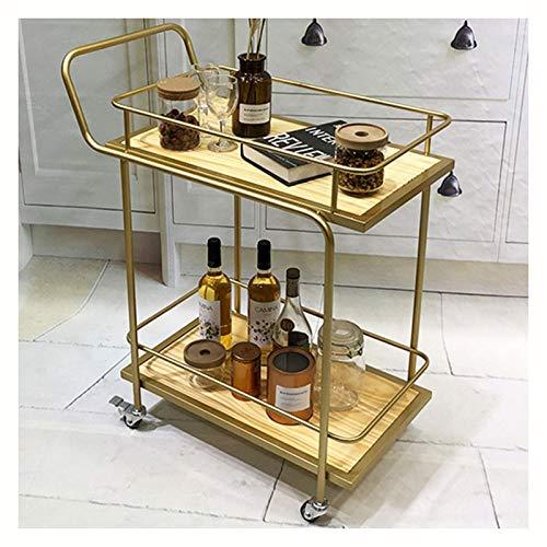 XCJ Mobile Bar a Due Livelli Minibar con Ruote per Soggiorno o Cucina Grande Carrello in Legno e...