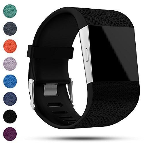 Correa de recambio para Fitbit Surge, de iFeeker. De silicona suave. Hebilla de metal. Recambio para monitor de actividad con herramientas incluidas, color negro
