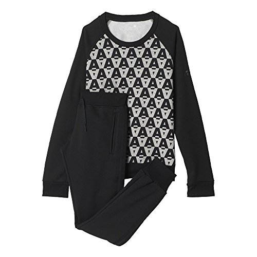 adidas Crewneck Suit - Chándal para Mujer, Color Negro/Gris, Talla L/S
