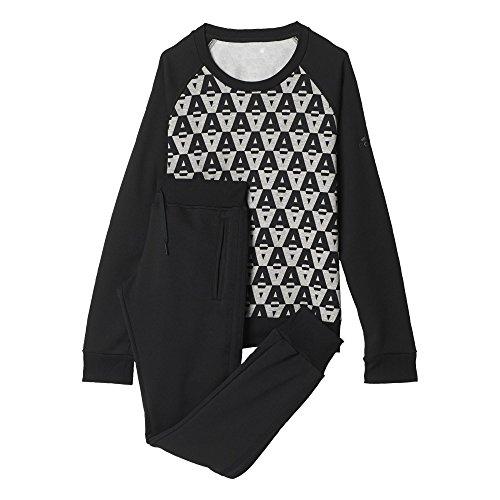 adidas Damen Trainingsanzug Crewneck Suit, Schwarz/Grau, XS/L