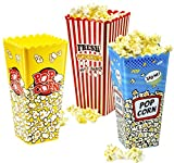 Red Co. Reusable Nesting Movie Theater Themed Popcorn Buckets - Set of 3 Assorted Retro Style Designs