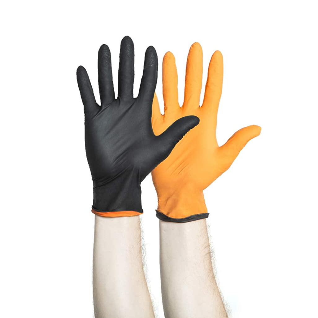 農学開いた負HALYARD Black-FIREニトリル試験手袋、パウダーフリー、5.5ミル、ミディアム、44757(ボックス150)