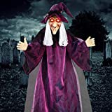 """BOBOO1 Halloween Decorations - 71"""" Life Size Hanging Animated Witch with Glowing Red Eyes, Motion Activated Halloween Haunted House Props"""