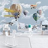 Fotomurales Papel Pintado Fotográfico Globo De Avión De Dibujos Animados 150x105 cm Papel pintado tejido no tejido Salón Despacho Pasillo Decoración de Pared decorativos murales