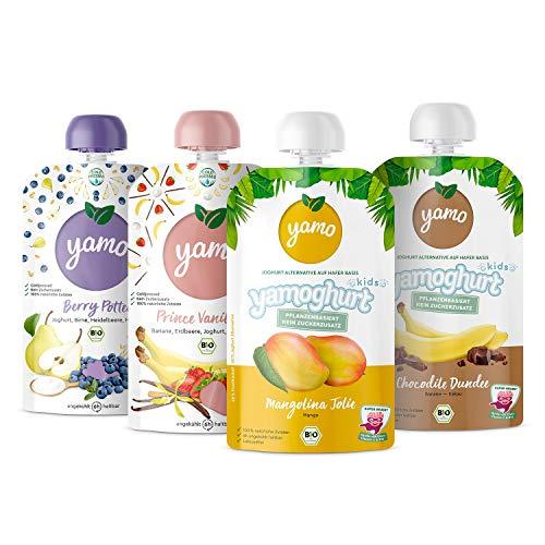 yamo Bio Quetschies und yamoghurts   Rise And Shine-Set   ab 6 Monate   kaltgepresst   8 x 120g Quetschies   8 x 120g yamoghurts
