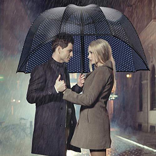 Dmqpp New Parasol Sunbrella Regenschirm, Paar Regenschirme Winddichtes, Kreativ Faßentwurf, Ganzkörper-windundurchlässiger Regenschutz, Nicht-Block Sight, Blauer Fleck, halb PVC