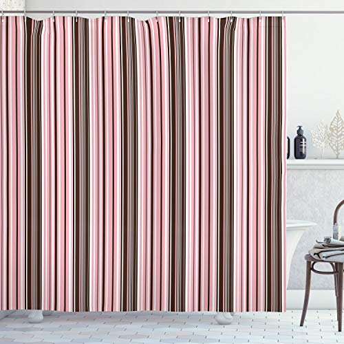 """Ambesonne Brown Shower Curtain, Little Stars in Circles Pink Hearts Polka Dots on Dark Backdrop, Cloth Fabric Bathroom Decor Set with Hooks, 75"""" Long, Brown Pink"""