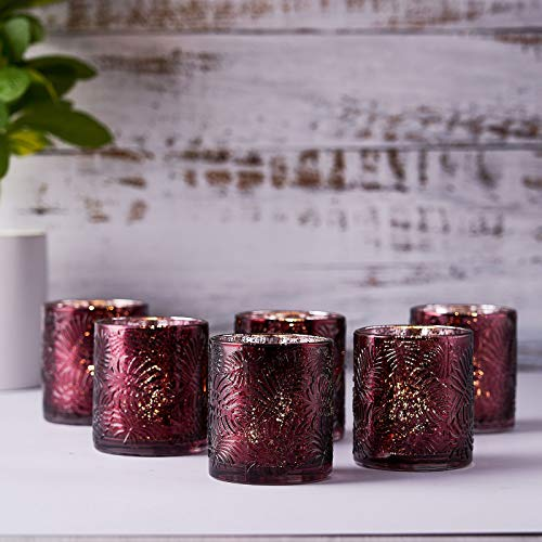 Efavormart 6 Pack Antique Burgundy Mercury Glass Candle Holders, Votive Tealight Holders with Geometric Design for Wedding, Parties, Centerpieces Decorations