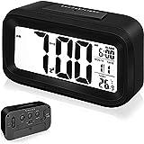 Arespark Despertador Digital, Reloj Alarma Electrónico con Luz de Noche, Pantalla LCD de 5.3 Pulgadas con Hora Fecha Temperatura, Función Snooze, Negro (Goma)