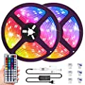 LED Light Strips 32.8ft, IP65 Waterproof Color Changing LED Strip Lights with 44Keys Remote,Flexible 300LEDs SMD5050 RGB Neon Tape Lights Dimmable Bar Mood Lighting for Room Bedroom TV ,12V/5A Power
