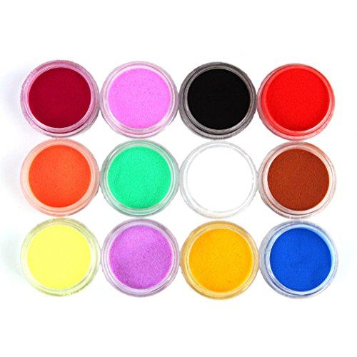 Nail Mirror Powder,Transer ® 12 couleurs sculpture acrylique poudre poussière Gel UV Design 3D conseils décoration manucure Nail Art