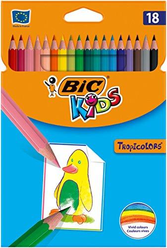 BIC Kids Tropicolors Crayons de Couleur - Coloris Assortis, Etui Carton de 18