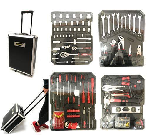 Set Professionale Attrezzi Utensili In Acciaio con Trolley Valigia con 4 Cassetti Vassoi portautensili (CASSETTA NERA)