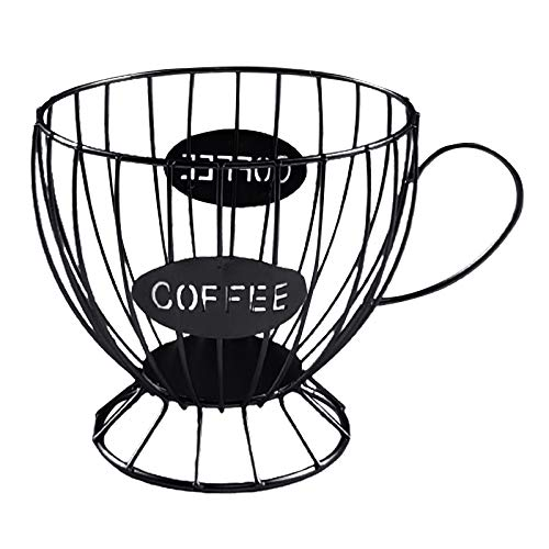 FLAMEER Kaffee Kapsel Lagerung Korb, Espresso Kaffee Pod Organizer Halter, Tasse Form Metall Kaffee Pod Halter Lagerung Korb Obst Schüssel Organizer Container (Type1-Schwarz)