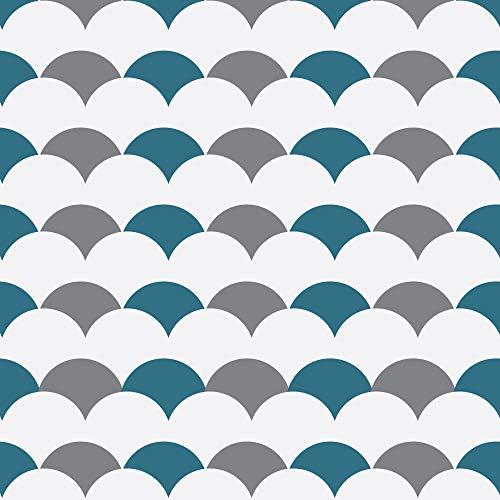 Zelfklevende decoratie voor tegels 269501 Heraclea Waldwald [4 tegels], grijs turquoise, 15 x 15 cm