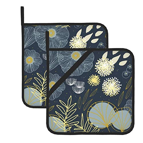 Spring Floral Navy Black 100% Cotton Set of 2 Pot Holders with Loop Heat Resistant for BBQ | Cooking | Baking | Grilling | Microwave | Barbecue | Four Season (8 Inch X 8 Inch)