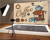 Telones de fondo de vinilo retro de 10 x 6.5 pies, diseño comercial de camión vintage con molinillo de café, fondo de moda antiguo para baby shower, estudio fotográfico, fotobooth