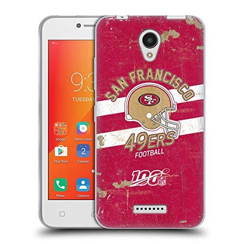Head Case Designs Oficial NFL Casco Distressed Look 100th 2019/20 San Francisco 49ers Carcasa de Gel de Silicona Compatible con Lenovo A Plus