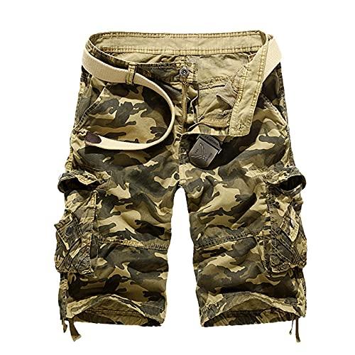 BORTGYUI Herren Bermuda Shorts Camo Cargo Elastische Taille Entspannte Reißverschlusstaschen Baumwolle Outdoor Leichte Arbeitshose Khaki 31