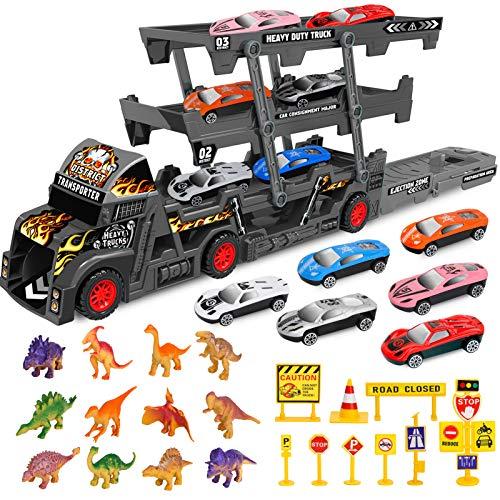 Sanlebi Autotransporter LKW Spielzeug-Mega Hauler Truck Tragekoffer für Spielzeugautos Abschleppwagen mit Dinosaurier für Kinder (29 Pack)