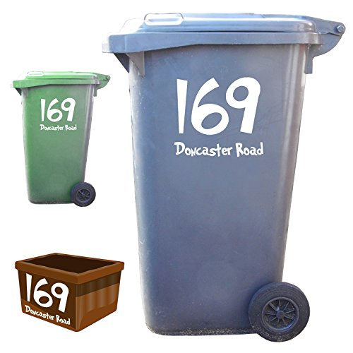 3 x Wheelie Bin Numbers and Street Name Stickers - Fun Style