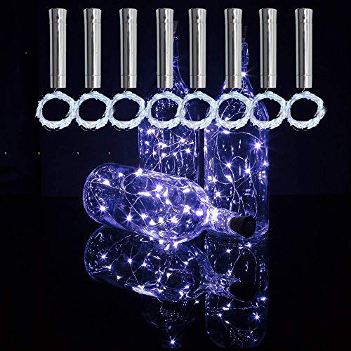 TINYOUTH 8PCS Cool White Bottle Lights with Cork, 2M/6.5FT 20 LED Wine Bottle Cork Lights, Always Lighting, AA Battery Operated Cork String Light for DIY Bottle Party Wedding Christmas Decor