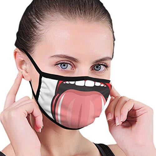 Bequemes winddichtes, rotes Lippenstift Open Tongue Out Funky 90er Jahre Retro Sinnliches Bild, Bedruckte Gesichtsdekorationen für Erwachsene