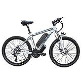 Hyuhome Vélos électriques pour Adultes, 360W en Alliage d'aluminium Ebike vélos Amovible 48V / 10Ah Lithium-ION Rechargeable VTT/Commute Ebike,White Blue