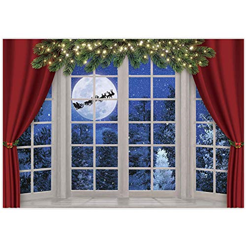 Allenjoy 7x5ft Christmas Window Photography Backdrop Winter Wonderland Snow Tree Starry Sky Moon Reindeer Santa Xmas Photocall Background Party Banner Decor Baby Kids Family Photo Shoot Booth Props