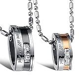 Cupimatch Valentinstagsgeschenk 2PCS Pärchen Kette Herren Damen Edelstahl Ringe Zirkonia Anhänger Paar Halskette mit Gravur, Weihnachten 55cm, 50cm Kette
