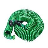 STTC Manguera Flexible de jardín, Extensible Manguera con Pistola de riego, Espiral de Diez Metros, Boquilla de Manguera, Verde,30m