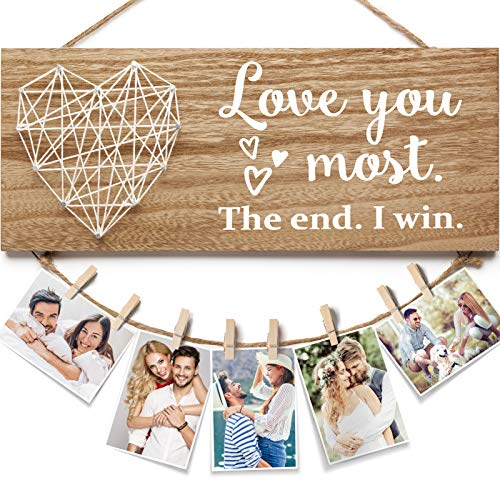 Boyfriend and Girlfriend Couples Romantic Picture Frame Anniversary Gifts for Her Him , Wedding Engagement Gifts Birthday Photo Holder - Love You Most the End I Win Gifts for Couples, Husband, Wife