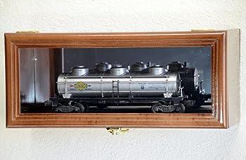 Single O Scale Train Engine Locomotive Cab Tanker Model Car Display Case Cabinet Holder Rack w/98% UV- Lockable with Mirror Back  Walnut Finish