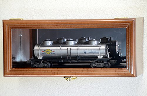 Single O Scale Train Engine Locomotive Cab Tanker Model Car Display Case Cabinet Holder Rack w/98% UV- Lockable with Mirror Back (Walnut Finish)