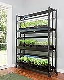 Gardener's Supply Company LED Grow Light Stand, Heavy Duty 3-Tier With Plant Trays